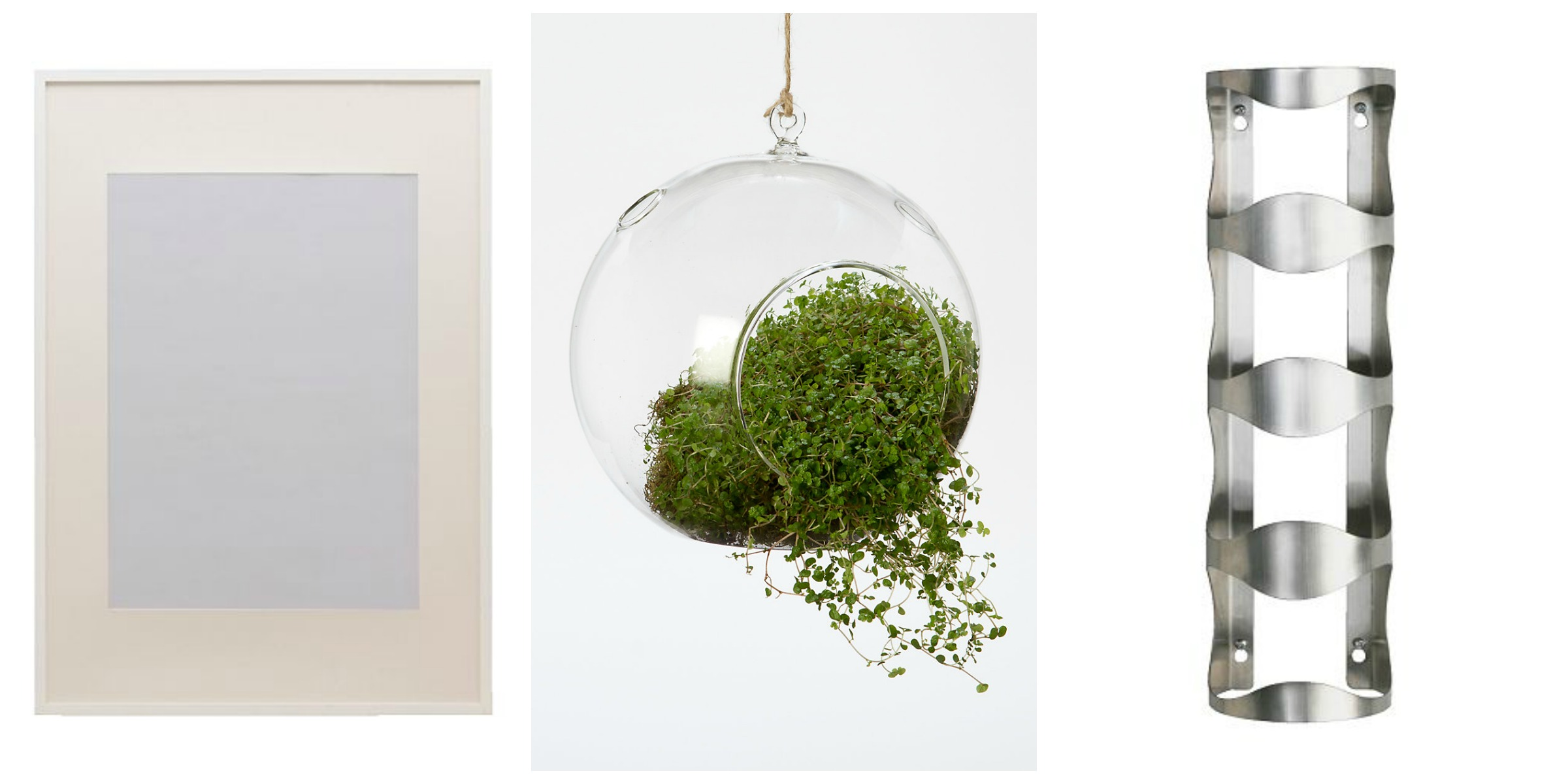 white wall frames // terrarium // wall wine rack }