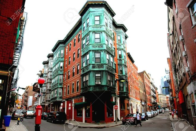 475508-Street-intesection-in-Boston-historical-North-End-Stock-Photo