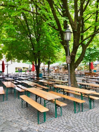 traditional outdoor beer garden